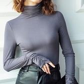 長袖T恤-高領皺摺袖口彈力女打底衫5色73za18【巴黎精品】