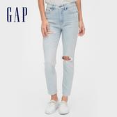Gap女裝淺色水洗破洞牛仔褲546936-淺水洗藍
