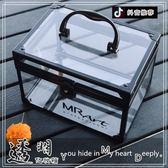 化妝箱 家用收納小號便攜式透明化妝箱手提多層專業美甲亞克力紋繡工具箱