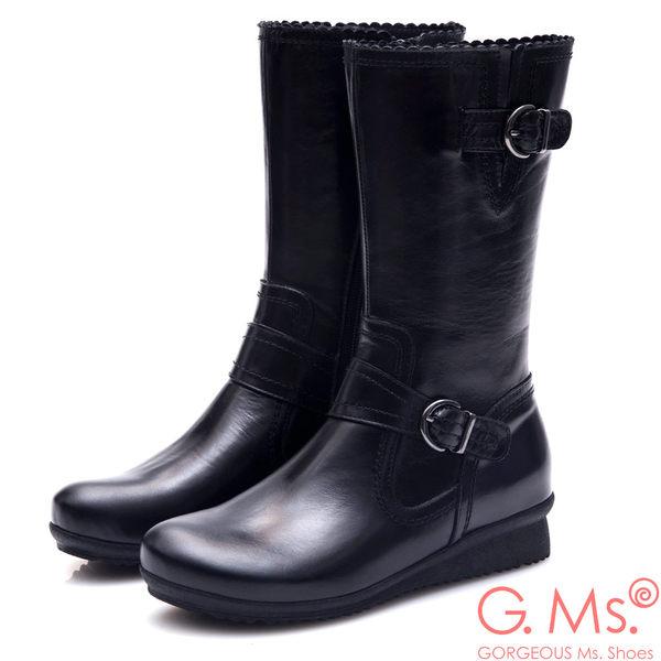 G.Ms. MIT系列-牛皮雙皮帶釦小坡跟中筒靴*黑色