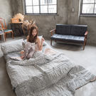 海棠花 D2雙人床包雙人薄被套4件組 四季磨毛布 北歐風 台灣製造 棉床本舖