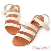 涼鞋 D+AF 自信百搭.簡約三條帶平底涼鞋*米杏
