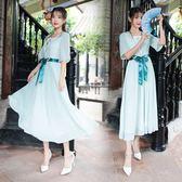 洋裝 短袖裙裝 民族風女裝復古繡花漢服長連衣裙