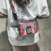 斜背包韓版時尚撞色小包包女夏季新款潮個性小方包彩寬帶斜背包包 艾維朵