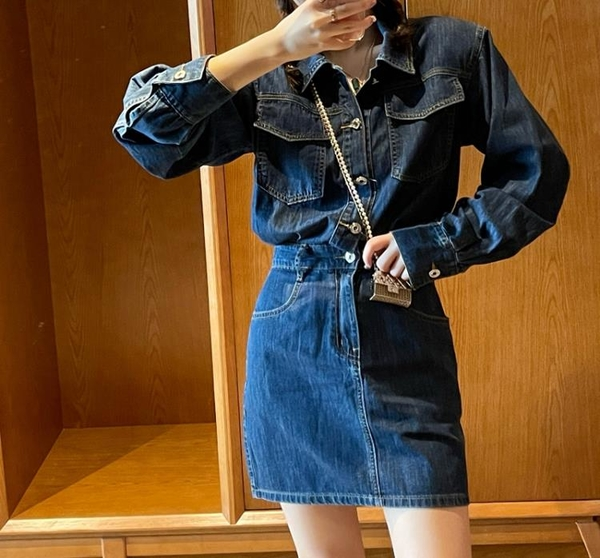 長袖洋裝 氣質長袖牛仔連身裙女秋季新款小個子收腰顯瘦短裙