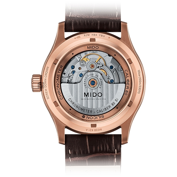 MIDO 美度 Multifort 先鋒系列80小時天文台矽游絲機械錶-玫塊金框x42mm M0384313603100