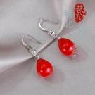 新年耳飾 s925純銀耳環珍珠韓國長款本命年大紅色新娘耳墜氣質耳飾防過敏【快速出貨八折鉅惠】