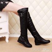 冬季長靴子女平底內增高保暖加絨棉靴粗腿mm大筒圍過膝靴 深藏blue
