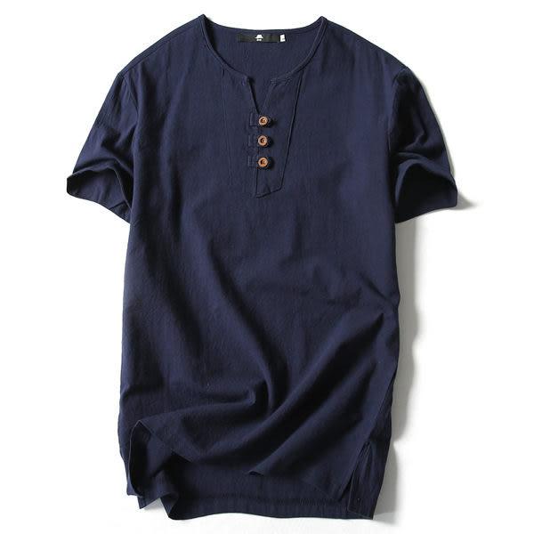 中國風亞麻t恤男短袖薄款純色棉麻半袖男V領打底衫中式男裝上衣潮