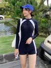 泳衣 泳衣女2021新款專業運動連體平角保守顯瘦遮肚潛水長袖泡溫泉泳裝 快速出貨