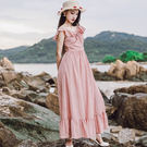 VK精品服飾 韓國風復古鏤空提花優雅荷葉領無袖洋裝