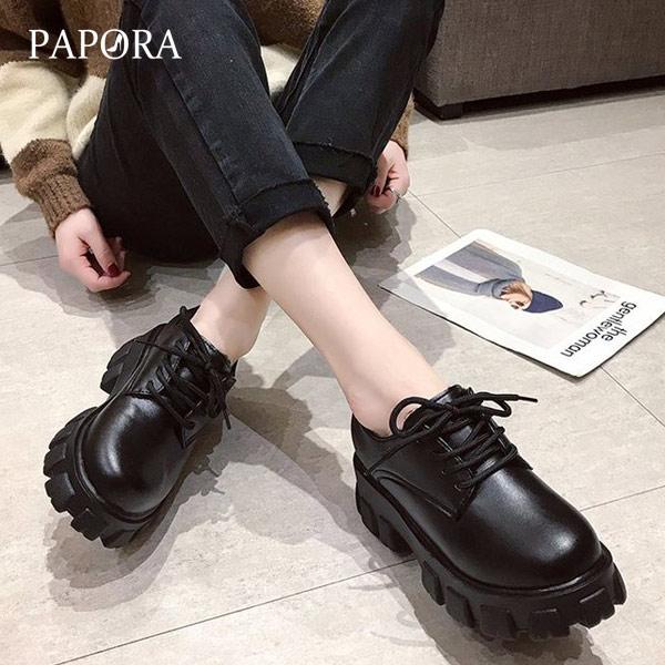 PAPORA圓頭帥氣厚底增高包鞋牛津鞋馬丁休閒鞋 KK5001 黑