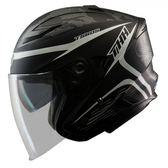 【東門城】THH T560S 迷彩線條 平光黑/白 快拆式鏡片 雙D扣 內襯全可拆洗 四分之三罩安全帽
