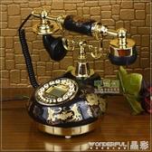 老式電話機TQJ陶瓷復古電話機/仿古電話機/黑色經典固定電話座機LX聖誕交換禮物