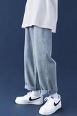牛仔褲 牛仔褲男潮牌ins帥氣直筒闊腿褲子韓版加絨加厚潮流寬鬆休閒長褲 芊墨左岸
