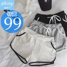 【V0897】shiny藍格子-清夏穿搭.撞色鬆緊腰運動休閒短褲