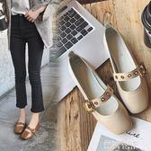 新款豆豆鞋女韓版百搭一字皮帶扣奶奶鞋休閒樂福鞋單鞋  朵拉朵衣櫥