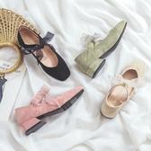 鞋子新款單鞋女秋百搭網紅瑪麗珍中跟粗跟學生仙女風方頭綁帶 韓國時尚週