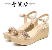 坡跟涼鞋厚底防水臺高跟鞋鬆糕女鞋