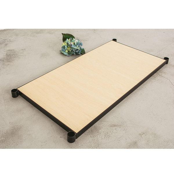收納架/置物架/層架配件【配件類】90x45cm 鐵木藝匠烤漆黑鐵框+白楓木層板  dayneeds