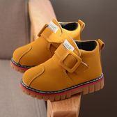 2018秋冬童鞋兒童單靴馬丁靴小黃靴英倫大棉男女童皮靴短靴牛筋底   夢曼森居家