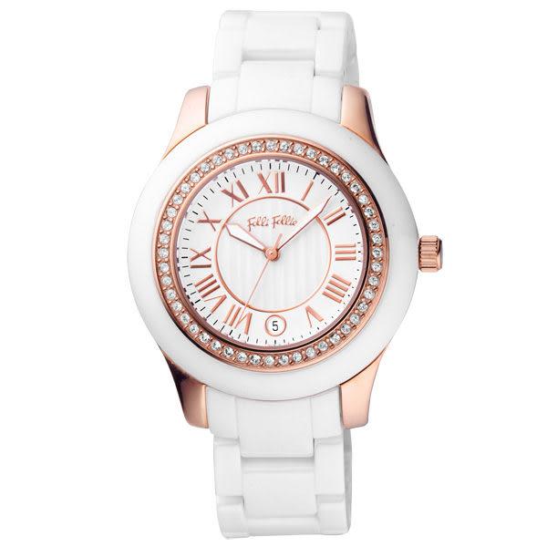 Folli Follie 時尚新藝術晶鑽日期陶瓷腕錶(白玫瑰金)