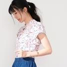 【慢。生活】荷葉袖印花垂墜女式襯衫-粉花 33664  FREE 粉花
