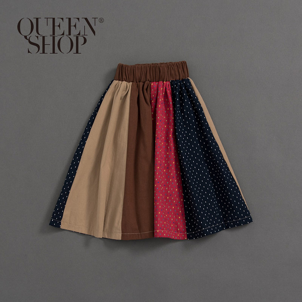 Queen Shop【03020580】童裝 親子系列 點點色塊拼接長裙 S/M/L*現+預*