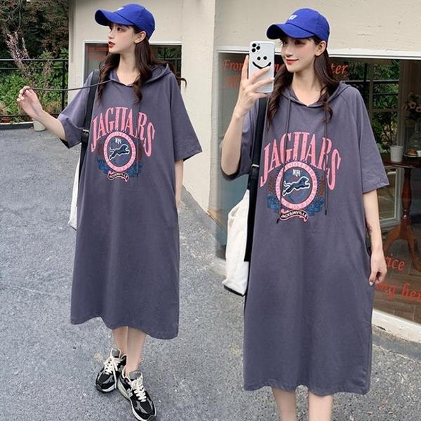 L-4XL胖妹妹大碼洋裝連身裙~大碼胖mm寬松過膝女裝純棉套頭連身裙3F061A衣時尚