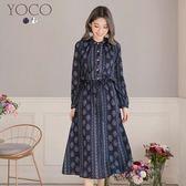 東京著衣【YOCO】波西米亞女神復古印花縮腰洋裝-S.M.L(172656)