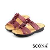 SCONA 蘇格南 全真皮 手工舒適花飾厚底涼鞋 紅色 22815-2