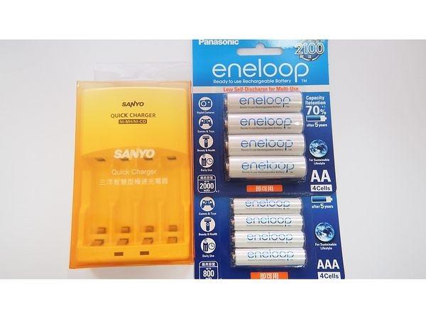 全館免運費【電池天地】SANLUX 三洋智慧型充電器 SYNC-N01 +國際牌 eneloop 3號+4號低自放充電電池(8顆)