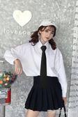 韓版學院風百搭休閒長袖白襯衫女寬鬆學生白襯衣bf上衣女領帶 艾莎嚴選