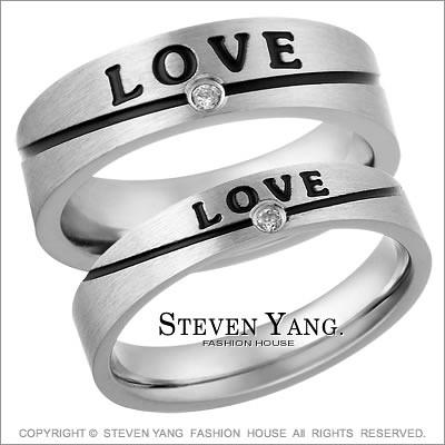 情人對戒 西德鋼飾「Love Smile」鋼戒指*單個價格*可加購刻字