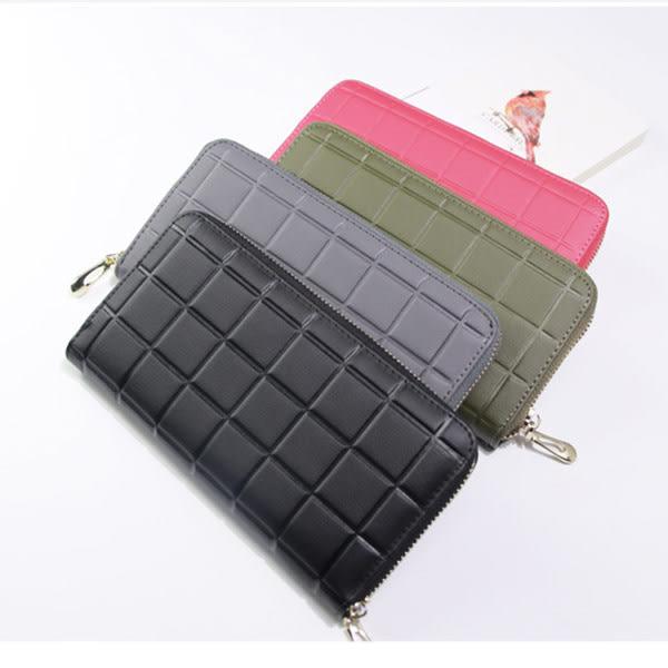 *UOU精品*韓國時尚款仿牛皮格子壓印氣質皮夾長夾‧3色/T024