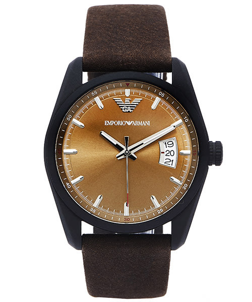 EMPORIO ARMANI Sportivo 知性時尚風日期顯示手錶 (AR6081) -青古銅色面x咖啡色/42mm