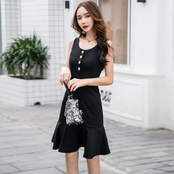 特賣款不退換洋裝禮服 視頻新款復古修身顯瘦赫本黑色魚尾連衣裙9912實價(T364-B)1號公館