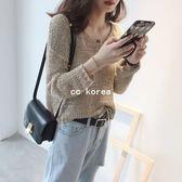 時尚簍空短版V領針織衫 CC KOREA ~ Q17818
