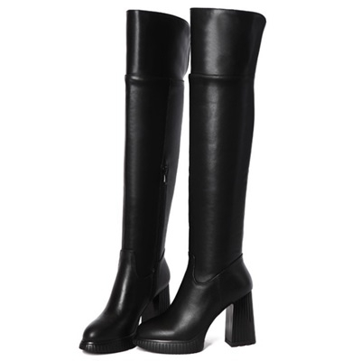 真皮過膝靴-個性騎士風魅力百搭粗跟女長靴73iv42【時尚巴黎】