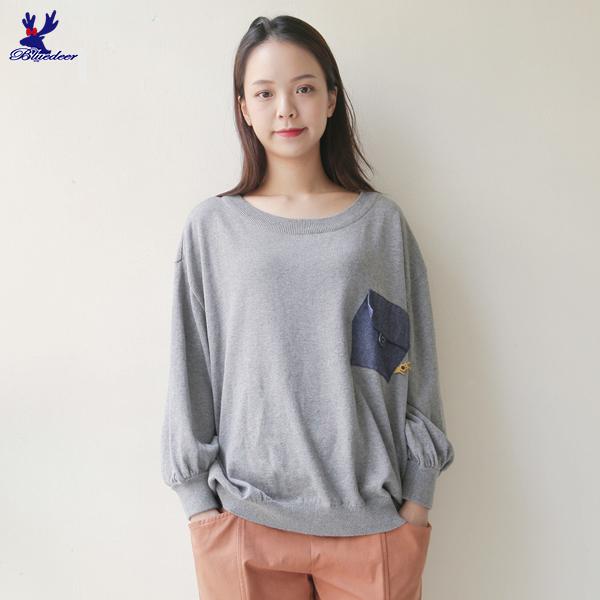 【三折特賣】American Bluedeer - 大學寬鬆針織上衣(魅力價) 秋冬新款