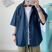 短袖襯衫夏季牛仔襯衫男青少年韓版潮流寬鬆休閒口袋短袖工裝襯衣外套 衣間迷你屋