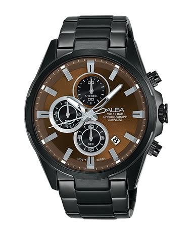 【時間道】 [ALBA。錶]科技時尚魅力三眼腕錶/咖啡面黑鋼(VD57-X081U/AM3349X1)免運費