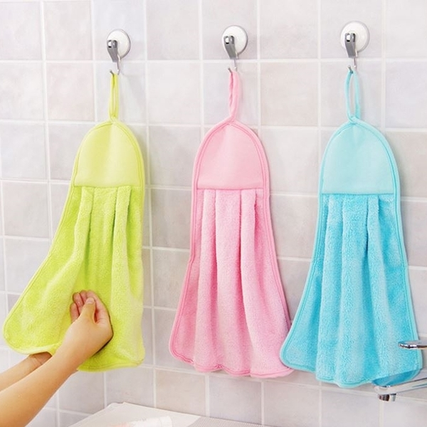 可掛式珊瑚絨擦手巾 珊瑚絨 擦手巾 加厚吸水清潔抹布 掛繩 吸水不掉毛不沾油洗碗布