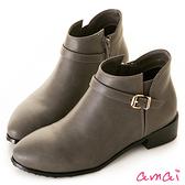 amai微彈性皮帶設計低筒短靴 灰