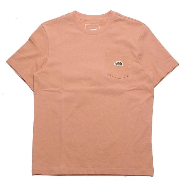 THE NORTH FACE 口袋短T 粉橘 刺繡小LOGO 短袖 休閒 情侶 男女(布魯克林) NF0A4U93V3R