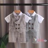 西裝禮服 一周歲禮服男童連身衣西裝滿月百天寶寶男夏裝兒童百日短袖衣服潮 2色