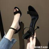 網紅時尚貓中高跟仙女細跟百搭黑色一字扣帶學生涼鞋青木鋪子