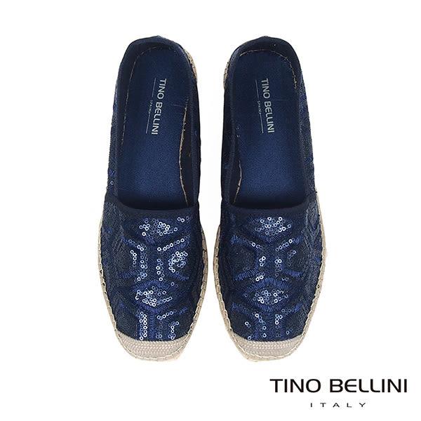 Tino Bellini 西班牙進口幾何藝術亮片刺繡麻編休閒鞋 _ 藍 A83016 歐洲進口款
