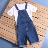 背帶褲 童真顯年輕復古水洗藍牛背帶牛仔短褲中褲男女情侶