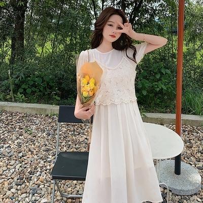 白色連身裙女顯瘦氣質法式復古溫柔泡泡袖裙子 D353紅粉佳人